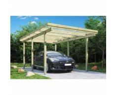 Carport simple en bois traite, 6 poteaux de 9x9x210 cm, 300x500 cm ht. 233 cm, hauteur de passage