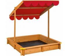 Bac à Sable Cabane de Jardin Enfant en Bois avec 1 Toit et 1 Bâche 120 cm x 120 cm x 120 cm Rouge