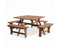 Table de pique nique Llanca 120cm carrée avec 4 bancs, salon de jardin en bois