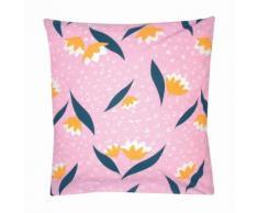 Taie d'oreiller carrée ou de traversin coton imprimé fleurs Jolie