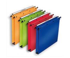 Dossiers suspendus L'Oblique en polypro - pour tiroir - fond 30 mm - coloris assortis - boite de 10