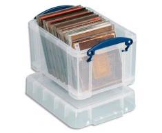 Boîte de rangement en plastique transparent avec couvercle - 3 litres - dimensions : L24,5 x H16 x P18 cm