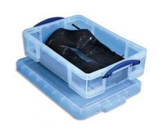 Boîte de rangement en plastique transparent avec couvercle - 24,5 litres - dimensions : L60 x H15,5 x P40 cm