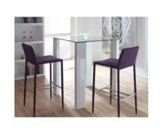 table de bar carrée en bois et verre trempé Hauteur 103cm