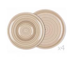 Coffret d'assiette plate D27cm et d'assiette à dessert en porcelaine D25cm beige - Lot de 8 ARTESANO NATURE