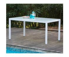 Table de jardin aluminium/verre 150x90x72cm blanche SUNNY