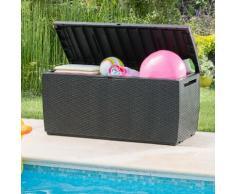 Coffre de jardin PVC imitation résine tressée ronde 123x53.5x57cm - 302L TROPIC gris