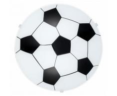 Applique plafonnier rond noir blanc et métal et verre forme ballon de foot en métal et verre