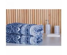 Serviette de toilette 100% coton 500gr/m2 rosaces ikat bleu frange 50x100cm INDIGO