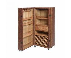 Malle de voyage avec cave à vin en simili cuir et bois marron à roulettes