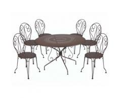 Salon jardin 6 places Acier: Table ronde 117cm + 6 chaises empilables MONTMARTRE marron