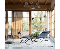 Chilienne multiposition pliante en acier et toile Air Comfort noir TRANSABED