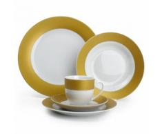 Service de table 30 pièces en porcelaine bords couleur TWIRL Gold