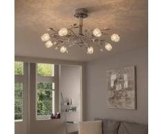 Plafonnier design 8 lumières en métal chromé forme tulipe ADRIANA