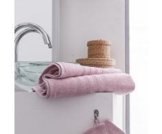 Parure de bain 2 serviettes de toilette + 2 draps de bain 100% coton 500gr/m2 COCOON rose