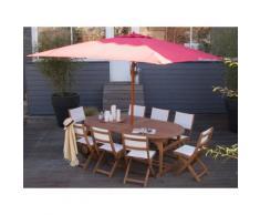 Parasol droit carré en bois et polyester 290x290 cm Rouge DOMEN
