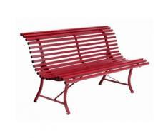 Banc de jardin 3 places en acier rouge piment d'espelette L150cm LOUISIANE