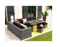 Salon de jardin 7 places : canapé d'angle + 2 poufs + table à manger + table coffre résine tressée TENSHO gris