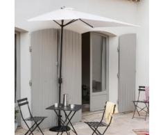 Demi-parasol de balcon rectangulaire en aluminium avec manivelle 230x130cm Circle blanc
