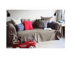 Housse canapé 2 places en coton beige à nouettes INES
