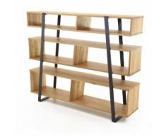 Etagère en bois (chêne naturel) et métal avec 6 niches ECLYPSE