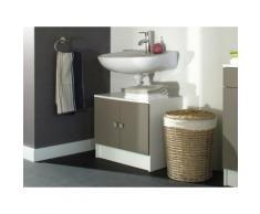 Meuble sous vasque en bois blanc/taupe 2 portes