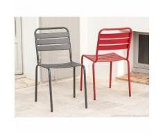 Chaise de jardin acier empilable rouge et gris (x2) HENDAIA