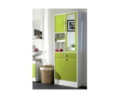 Armoire 2 portes/1tiroir/2niches/1 porte battante L62. Blanc / Vert