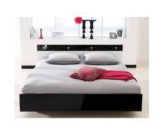 Lit 2 places design en bois laqué noir et blanc 140x190cm DIAMOND
