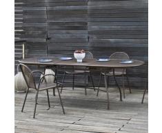 Table de jardin ovale extensible Acier 180/240x90cm trou pour parasol EVO gris