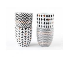 Tasses à café en porcelaine noir et cuivre (Coffret de 4) SISKO