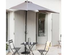 Demi-parasol de balcon rectangulaire 230X130 cm en aluminium avec manivelle Taupe CIRCLE (avec pied)