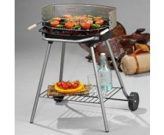 Barbecue Charbon ATHENES Rond fonte sur chariot 51x33cm gris