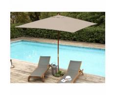 Parasol droit carré 290x290 cm en bois et polyester Taupe DOMEN