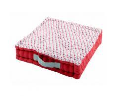 Coussin de sol en coton rouge capitonné motif triangle ISOCELE