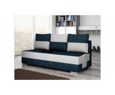 JUSTyou Atila Canapé sofa Tissu cuir éco Bleu Blanc