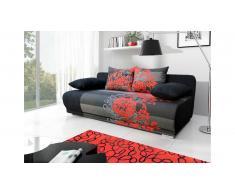 JUSTyou Roma Canapé lit sofa 90x200x95 cm Noir Rouge