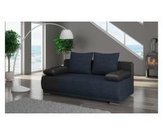 JUSTyou Roma Canapé lit sofa 95x200x90 Noir Bleu