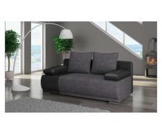 JUSTyou Roma Canapé lit sofa 95x200x90 Noir Gris