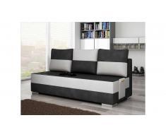 JUSTyou Atila Canapé sofa Tissu cuir éco Gris Blanc