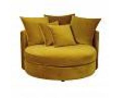 Maisons du Monde Canapé rond 1/2 places en velours jaune moutarde Dita