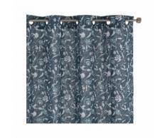 Voilage à oeillets en coton motif floral bleu 140x250cm