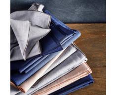 Chemin de table en lin et coton bleu figuerolles 50x150cm