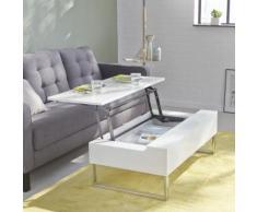 Table basse blanche avec tablette relevable