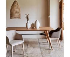 Lot de 2 chaises capitonnée beige avec accoudoirs (prix unitaire : 99.0 euros)