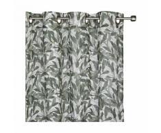 Rideau à oeillets vert imprimé feuilles de laurier 140x250cm