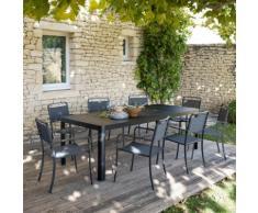 Table de jardin extensible en aluminium noir (8 à 10 places)