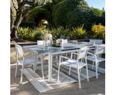 Table de jardin extensible en aluminium blanc (10 places)
