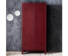 Armoire rouge en acier 2 portes battantes