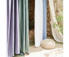 Rideau à oeillets en coton bleu figuerolles 140x250cm